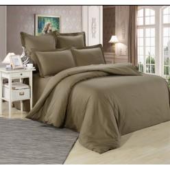 Комплект постельного белья однотонный сатин коричневый