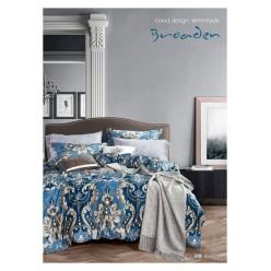 Комплект постельного белья премиум сатин синий с орнаментом