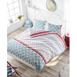 Турецкое постельное белье из хлопка HERA евро белое с орнаментом геометрия