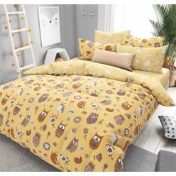 Детское постельное белье поплин желтое совята