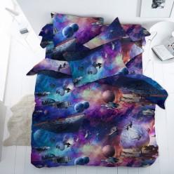 Детское постельное белье поплин синее космос