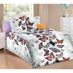 Детское постельное белье бязь белое бабочки
