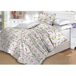 Детское постельное белье поплин двустороннее белое единороги