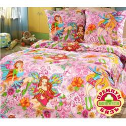 Детское постельное белье бязь розовое феи