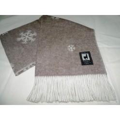 Шерстяной плед INCALPACA двусторонний коричневый с кремовым и снежинками 138x200