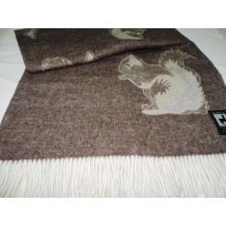 Шерстяной плед INCALPACA двусторонний коричневый и кремовый с белочкой 138x200
