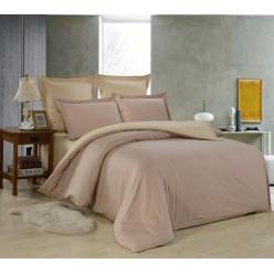 1.5 спальное постельное белье однотонное из сатина бежевое двустороннее