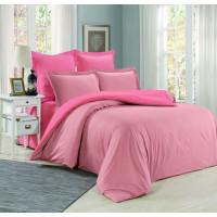 1.5 спальное постельное белье однотонное из сатина коралловое