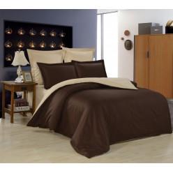 1.5 спальное постельное белье однотонное из сатина коричневое с бежевым