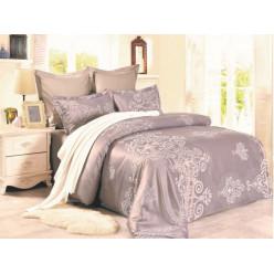 1.5 спальное постельное белье жаккард бежевое с орнаментом