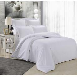 1.5 спальное постельное белье однотонное из сатина белое