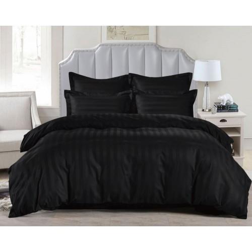1.5 спальное постельное белье страйп сатин черное в полоску
