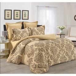 1.5 спальный комплект постельного белья сатин бежевый с орнаментом