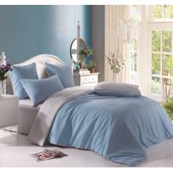 1.5 спальное постельное белье однотонное двустороннее голубое