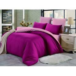 1.5 спальное постельное белье однотонное двустороннее ярко розовое