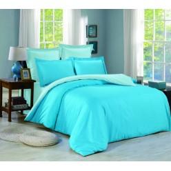 1.5 спальное постельное белье однотонное из сатина бирюзовое с голубым