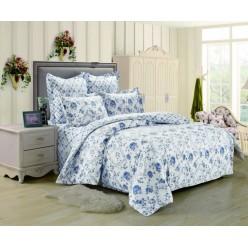 2 спальный комплект постельного белья сатин белый с синими розами