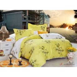 1.5 спальный комплект постельного белья сатин лимонный с цветами