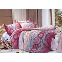 1.5 спальный комплект постельного белья сатин двусторонний темно-розовый