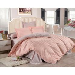 1.5 спальное двустороннее постельное белье страйп сатин персиковое в полоску