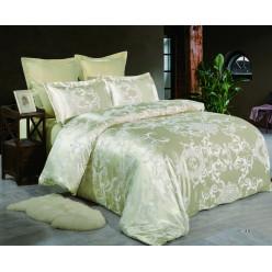 2 спальное постельное белье жаккард золотое с орнаментом