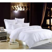 1.5 спальное сатиновое постельное белье однотонное белое