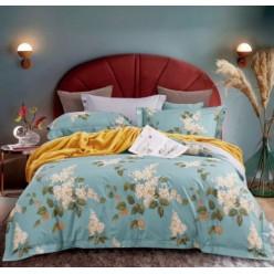 2 спальное постельное белье премиум сатин двустороннее бирюзовое с листьями