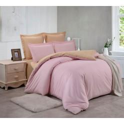 1.5 спальный однотонный комплект постельного белья розовый с бежевым