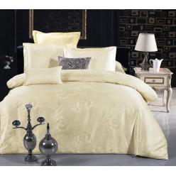 1.5 спальное постельное белье жаккард кремовое