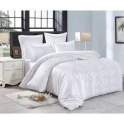 1.5 спальное постельное белье жаккард белое с орнаментом