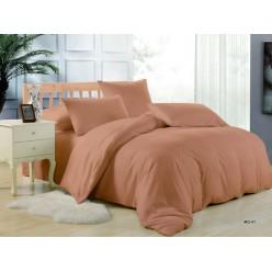 1.5 спальное постельное белье однотонное дымчато коралловое