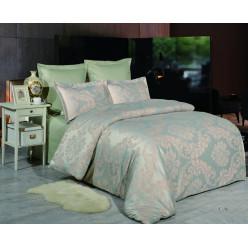 1.5 спальное постельное белье жаккард оливковое с орнаментом