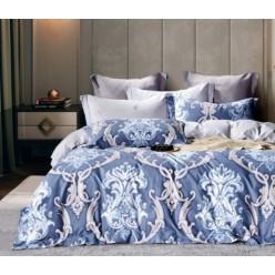 2 спальное постельное белье премиум сатин двустороннее синее с вензелями