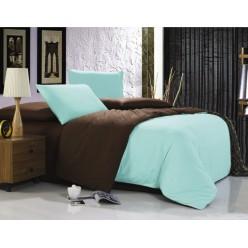 1.5 спальное постельное белье однотонное двустороннее бирюзовое