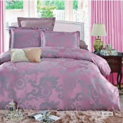 2 спальное постельное белье жаккард фиолетовое с орнаментом