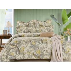 2 спальное постельное белье сатин бежевое с птичками
