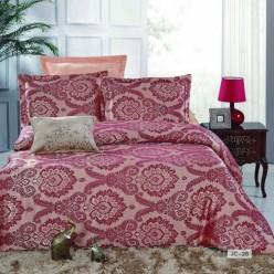 1.5 спальное постельное белье жаккард бордовое с орнаментом