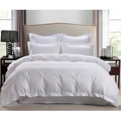 1.5 спальное постельное белье страйп сатин однотонное белое