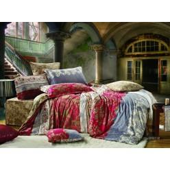 1.5 спальный комплект постельного белья сатин бордо с золотыми узорами