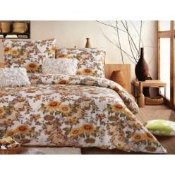 1.5 спальный комплект постельного белья сатин бежевый с подсолнухами