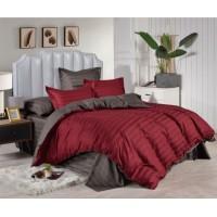 1.5 спальное двустороннее постельное белье страйп сатин бордовое в полоску