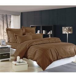 1.5 спальное сатиновое постельное белье однотонное коричневое