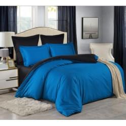 1.5 спальное постельное белье однотонное двустороннее сатин синее