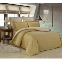 1.5 спальное постельное белье однотонное из сатина горчичное с бежевым