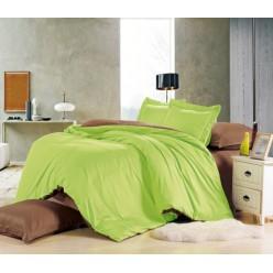 1.5 спальное постельное белье однотонное из сатина салатовое с коричневым