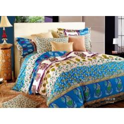 1.5 спальный комплект постельного белья сатин разноцветный с цветами