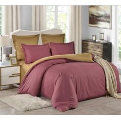 1.5 спальное постельное белье однотонное двустороннее сатин коралловое
