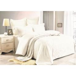1.5 спальное постельное белье жаккард кремовое с орнаментом