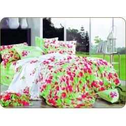 2 спальный комплект постельного белья сатин салатовый с красными цветами
