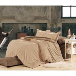 1.5 спальное постельное белье однотонное из сатина бежевое с коричневым
